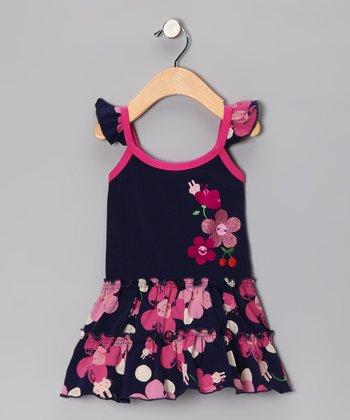 Navy Cherry Blossom Dress - Infant & Toddler