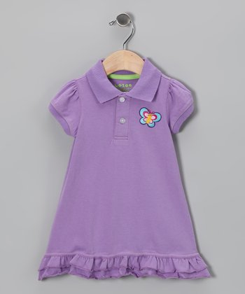 Purple Butterfly Polo Dress - Infant & Toddler