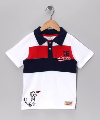 White Dino Shortstomp Polo - Infant & Toddler