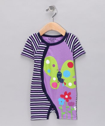 Purple Butterfly Raglan Romper - Infant