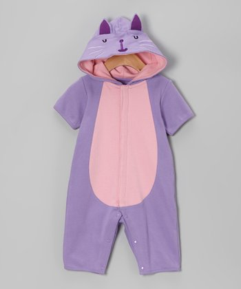Purple Kitty Hooded Playsuit - Infant