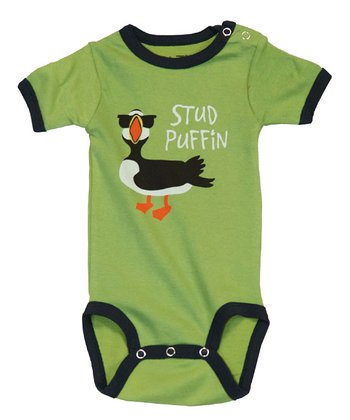 Green 'Stud Puffin' Bodysuit - Infant
