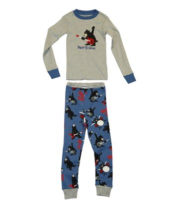 Gray & Blue 'Rock Me' Pajama Set - Toddler & Kids