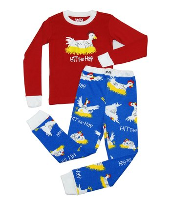 Red & Blue 'Hit the Hay' Pajama Set - Toddler & Kids