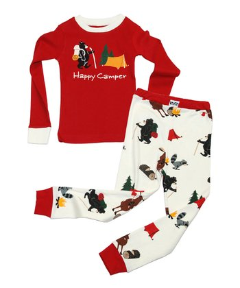 Red & White 'Happy Camper' Pajama Set - Toddler & Kids