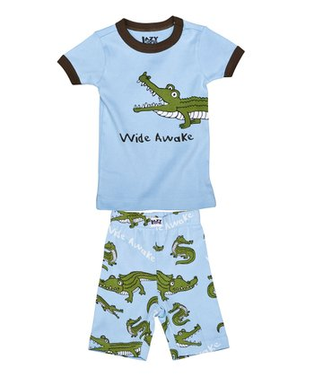 Blue 'Wide Awake' Short Pajama Set - Toddler & Kids