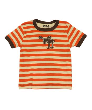 Orange Stripe Moose Tee - Toddler & Kids
