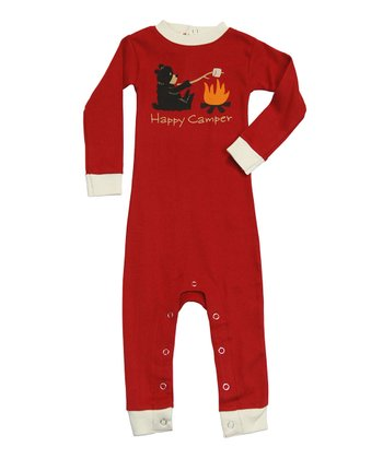 Red 'Happy Camper' Flapjack Playsuit - Infant
