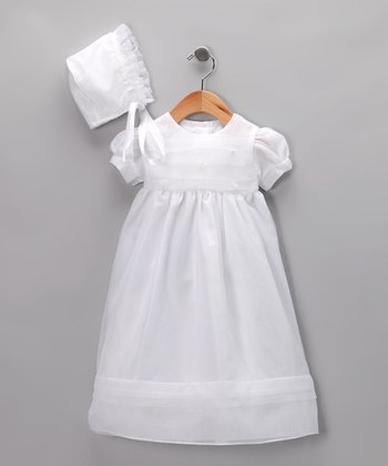 Le Fromage et L'orange White Christening Gown Set - Infant