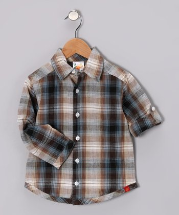 Brown Plaid Button-Up - Toddler & Boys