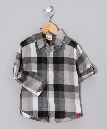 Gray Plaid Button-Up - Boys