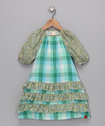 Blue Plaid Ruffle Dress - Toddler