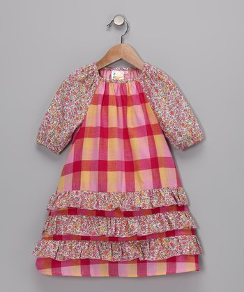 Pink Plaid Ruffle Dress - Toddler