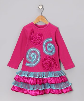 Pink & Blue Swirl Ruffle Dress - Toddler & Girls
