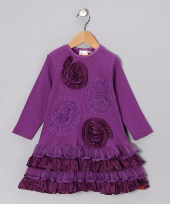 Purple Swirl Ruffle Dress - Toddler