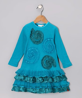 Teal Swirl Ruffle Dress - Toddler