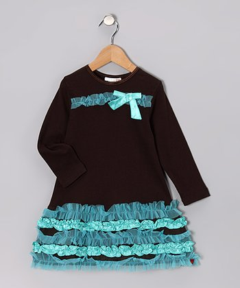 Chocolate & Turquoise Ruffle Dress - Girls