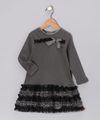 Sterling Gray & Black Ruffle Dress - Toddler & Girls