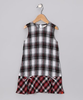 Red & Black Plaid Bow Dress - Toddler & Girls