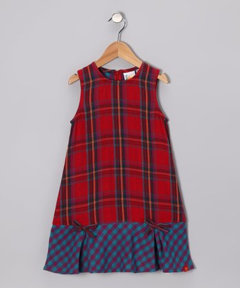 Red & Turquoise Plaid Bow Dress - Toddler & Girls