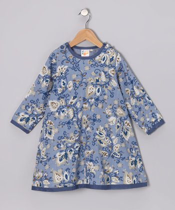 Blue Floral Chambray A-Line Dress - Toddler & Girls
