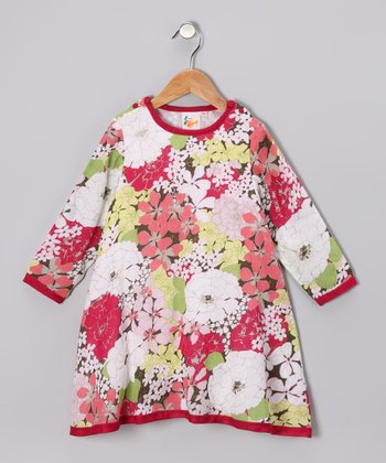 Coral & White Floral A-Line Dress - Toddler & Girls