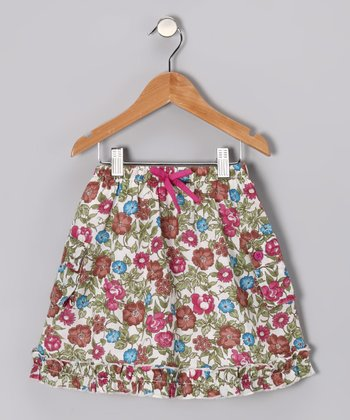 Berry Rose Floral Cargo Skirt - Toddler & Girls