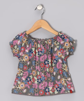 Gray & Pink Floral Peasant Top - Toddler & Girls
