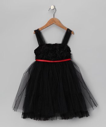 Le Pink Black Tulle Dress - Girls