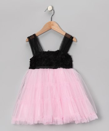 Le Pink Black & Pink Tulle Dress - Toddler & Girls