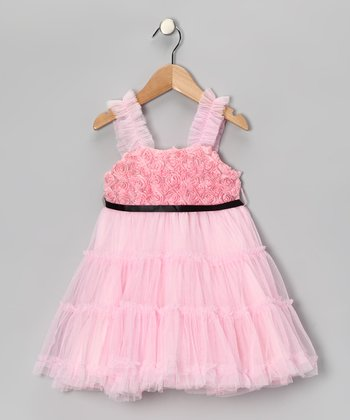Light Pink Rosette Tulle Dress - Toddler