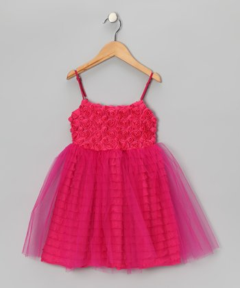 Le Pink Hot Pink Rosette Tulle Dress - Girls