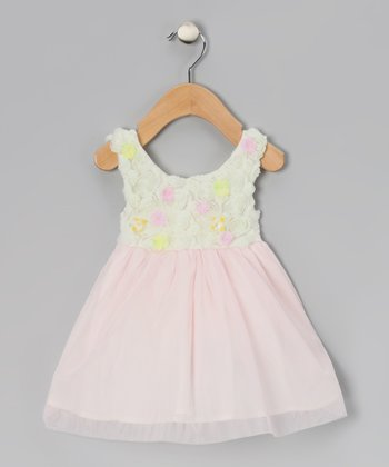 Ivory & Pink Crème Brulee Dress - Girls