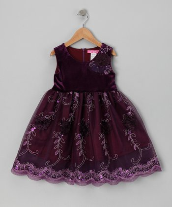 Purple Floral Merlot Dress - Toddler & Girls