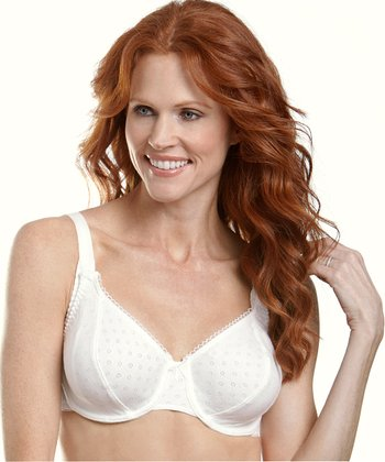 White Pointelle Underwire Nursing Bra - Plus
