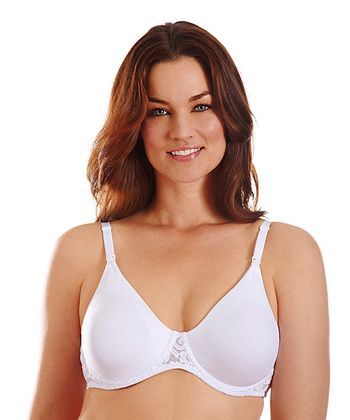 White Lace-Trim Underwire Nursing Bra - Women & Plus