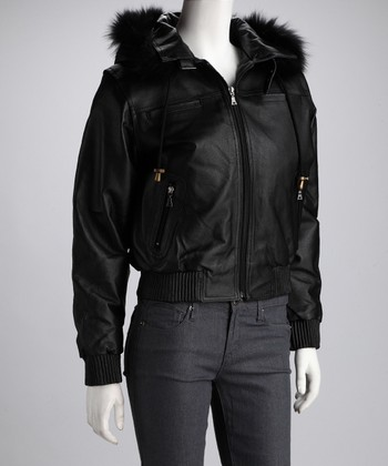 Black Faux Fur-Trim Leather Jacket - Women & Plus