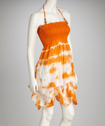 Orange Tie-Dye Dress
