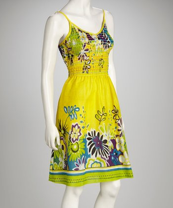 Yellow Floral Shirred Dress
