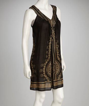 Black & Gold Aztec Yoke Dress