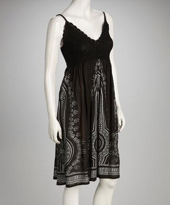 Black Aztec Crochet Shirred Dress