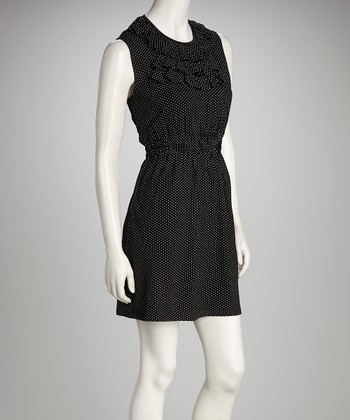 Black & White Polka Dot Ruffle Sleeveless Dress