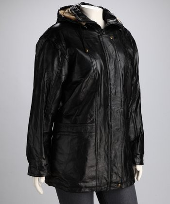 Black Patch Leather Hooded Jacket - Women & Plus