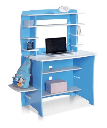 Blue & White Desk & Hutch