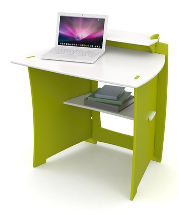 Green Desk & Monitor Shelf