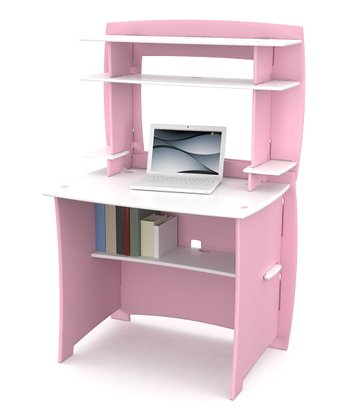 Pink & White Desk & Hutch