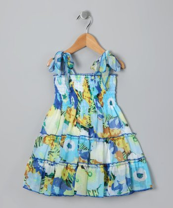 Blue Floral Tie Dress - Toddler & Girls