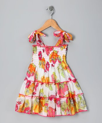 Pink Floral Tie Dress - Toddler & Girls