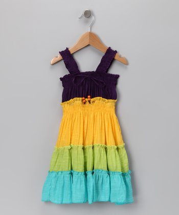Purple & Yellow Tiered Dress - Girls