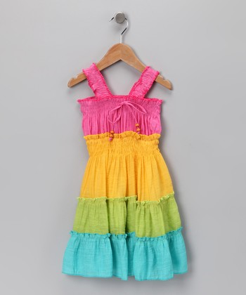 Pink & Yellow Tiered Dress - Girls